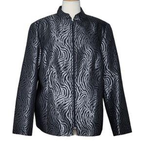 LAURA PLUS Blazer Jacket Zip Up Animal Print